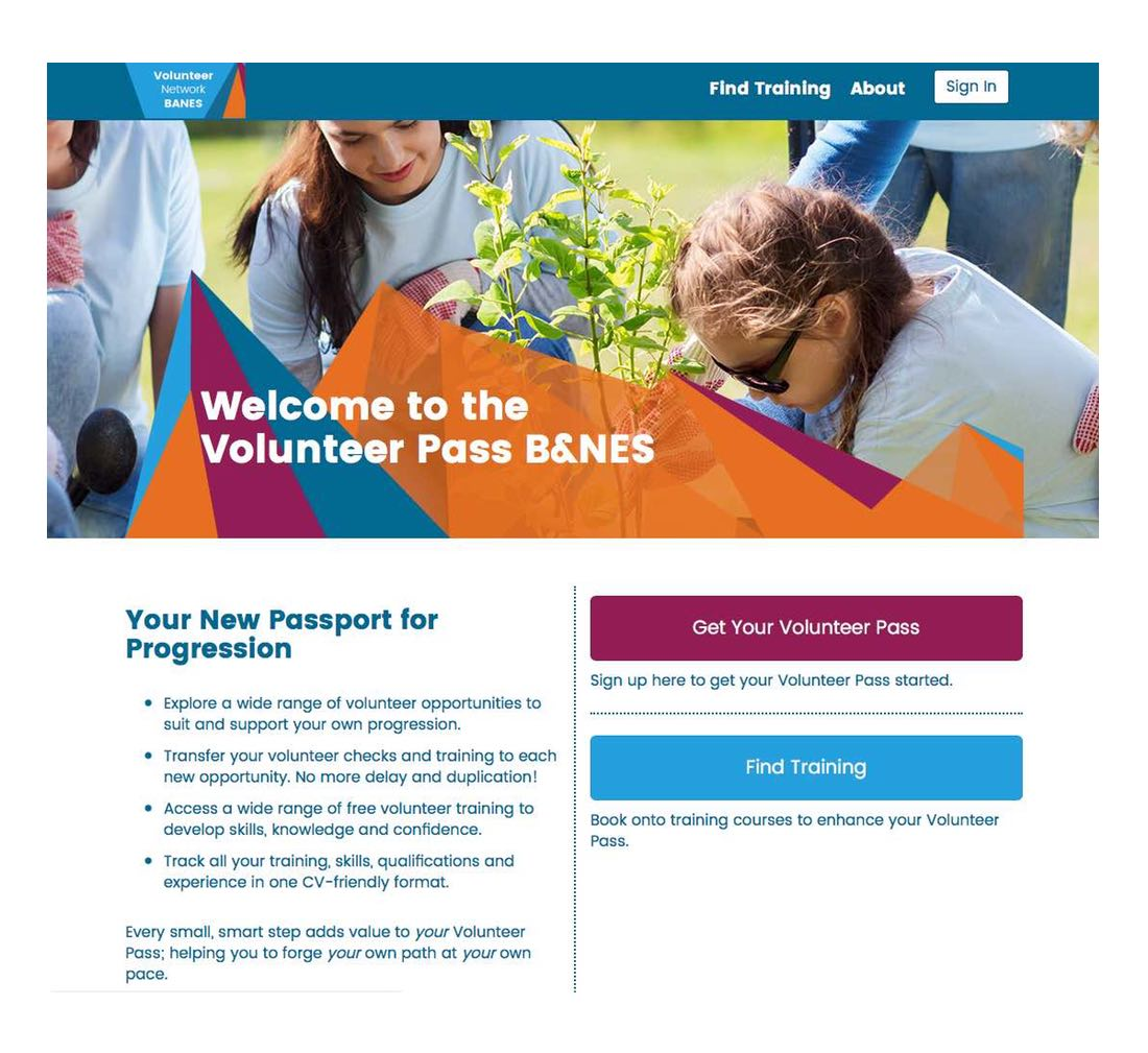 Screenshot of the home page in the Volunteer Pass website