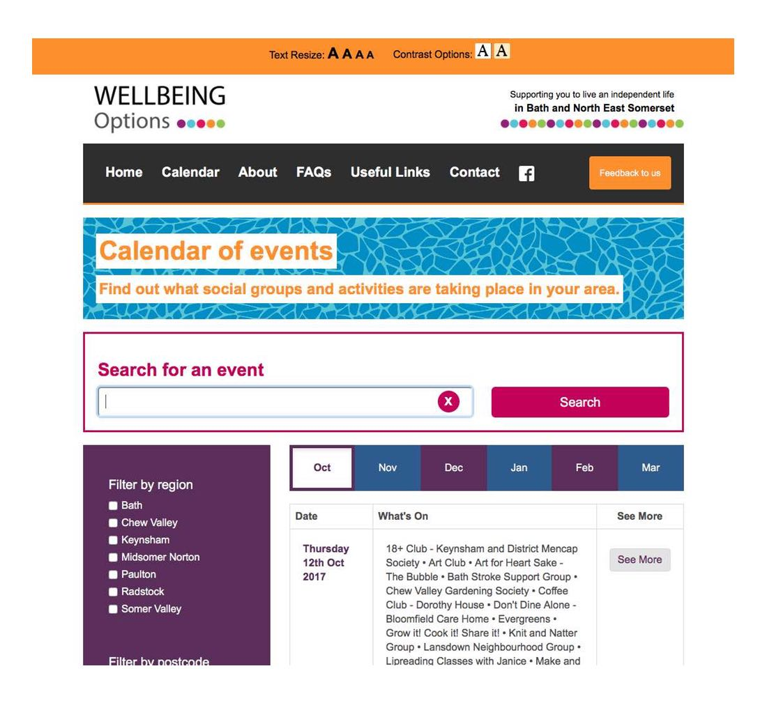 Screenshot of the search page in the Wellbeing Options website, with a searchable activities calendar and service list.
