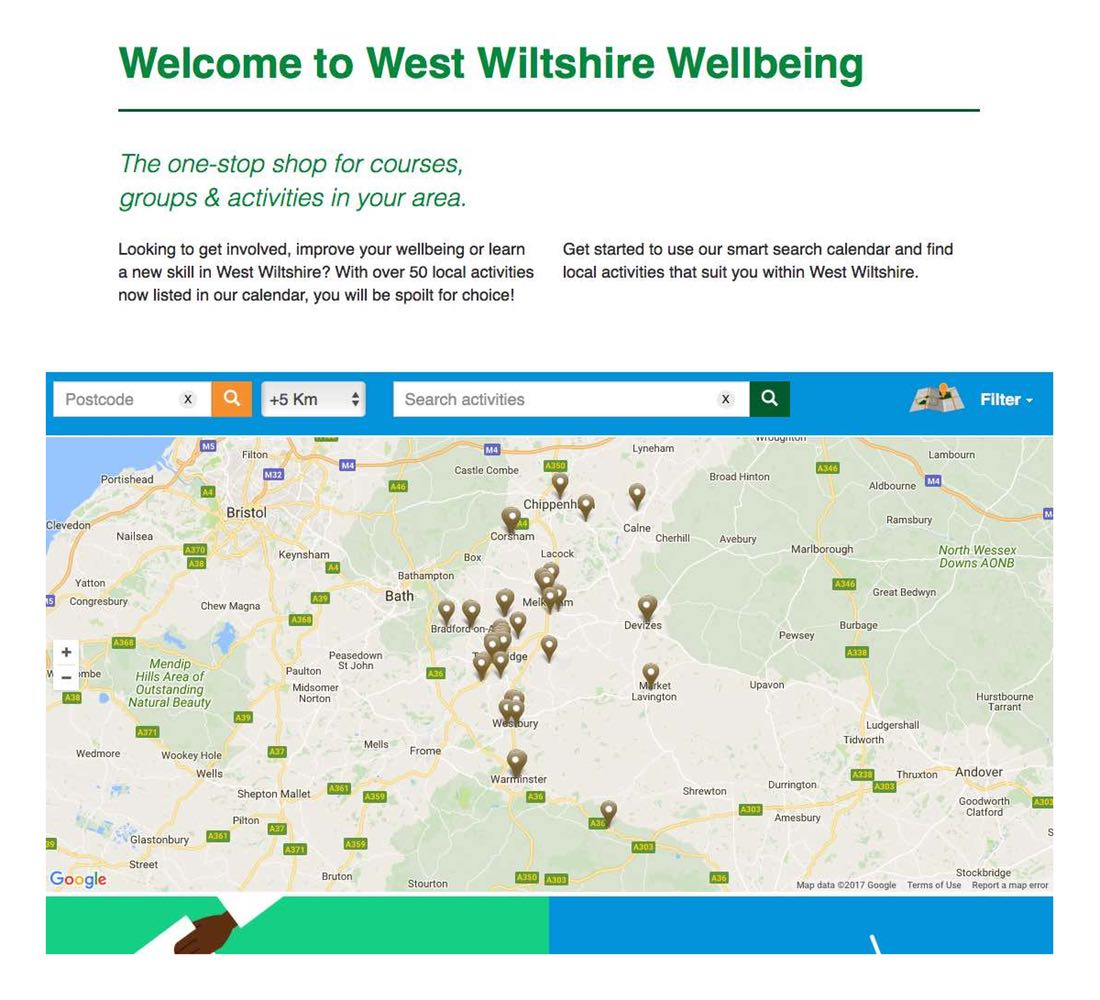 Screenshot of the West Wiltshire Wellbeing website with a map view for searching activities.